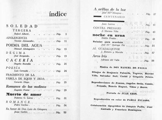 Figure 4: Table of contents Litoral No. 5,6,7